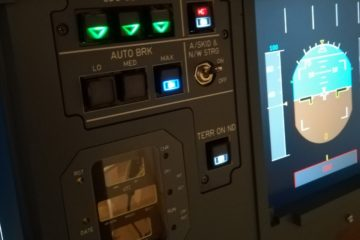A320 Autobrake-Panel in my A320 home cockpit (replica) with lighted Korrys